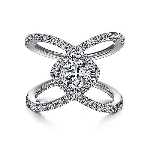 Gabriel - Aurora 14k White Gold Cushion Cut Halo Engagement Ring