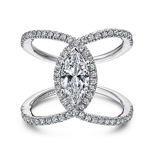 Gabriel   Aurora 14k White Gold Marquise Halo Engagement Ring