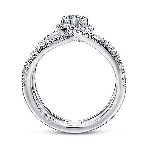 Aurora 14k White Gold Marquise  Halo Engagement Ring angle 2
