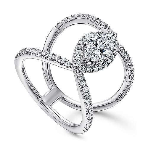 Aurora 14k White Gold Marquise  Halo Engagement Ring angle 3