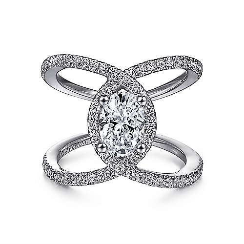 Gabriel - Aurora 14k White Gold Oval Halo Engagement Ring