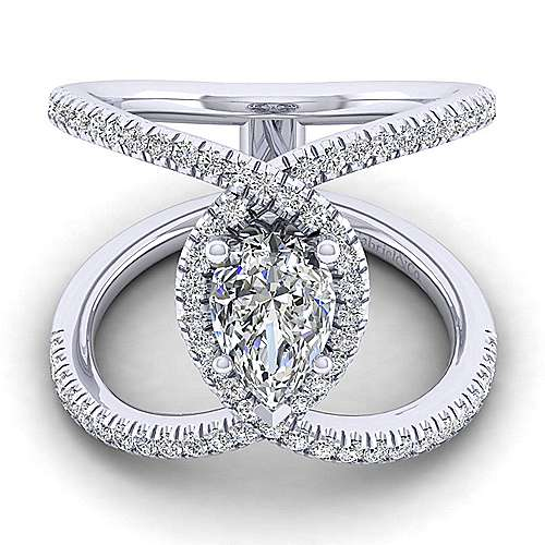 Gabriel - Aurora 14k White Gold Pear Shape Halo Engagement Ring