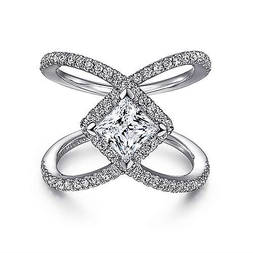 Gabriel - Aurora 14k White Gold Princess Cut Halo Engagement Ring