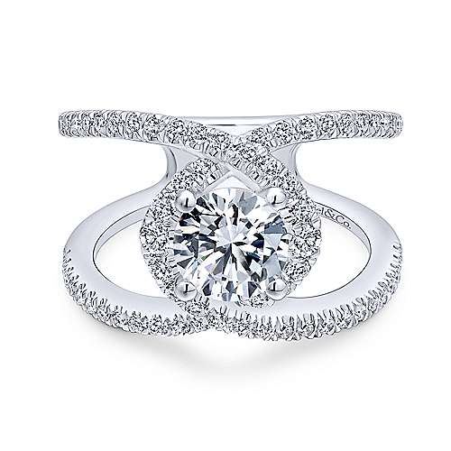 Aurora 14k White Gold Round Halo Engagement Ring angle 1