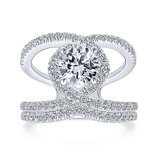 Aurora 14k White Gold Round Halo Engagement Ring angle 4