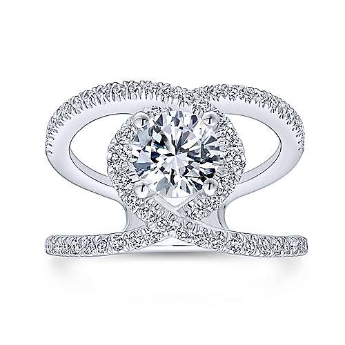 Aurora 14k White Gold Round Halo Engagement Ring angle 5