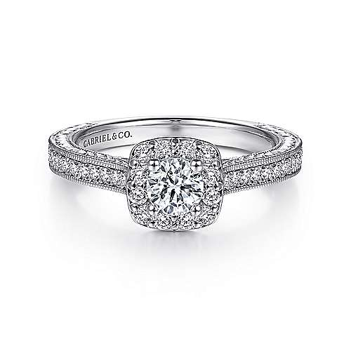 Gabriel - Austin 14k White Gold Round Halo Engagement Ring