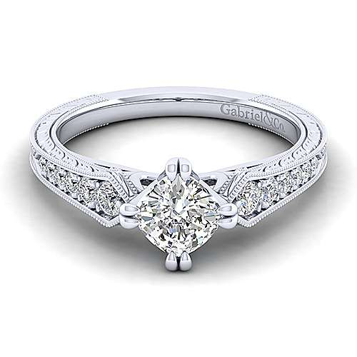 Gabriel - Ava 14k White Gold Cushion Cut Straight Engagement Ring
