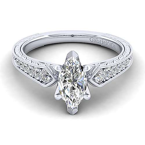 Gabriel - Ava 14k White Gold Marquise  Straight Engagement Ring