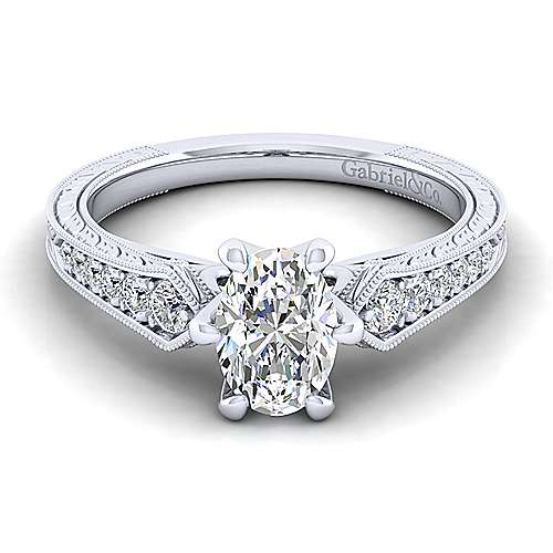 Gabriel - Ava 14k White Gold Oval Straight Engagement Ring