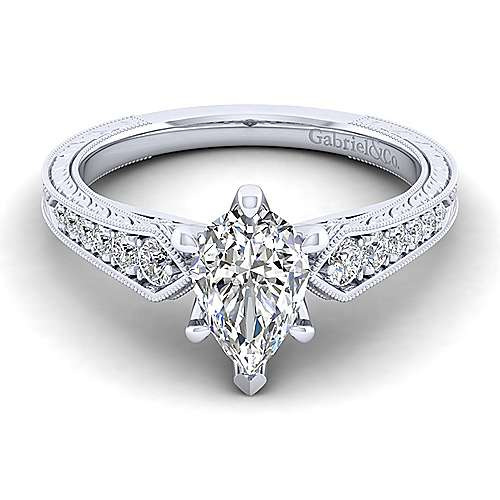 Gabriel - Ava 14k White Gold Pear Shape Straight Engagement Ring