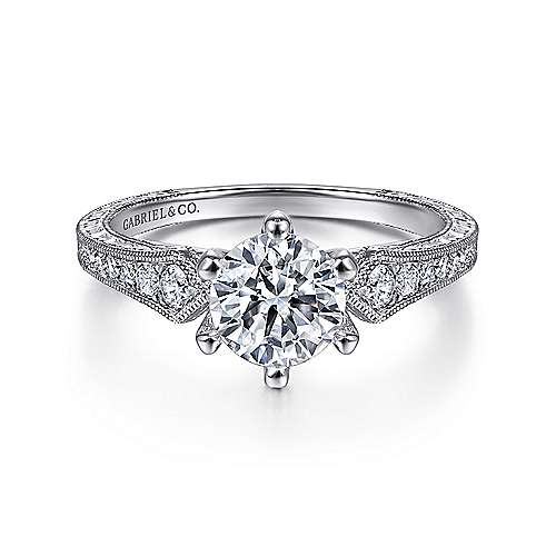 Gabriel - Ava 14k White Gold Round Straight Engagement Ring