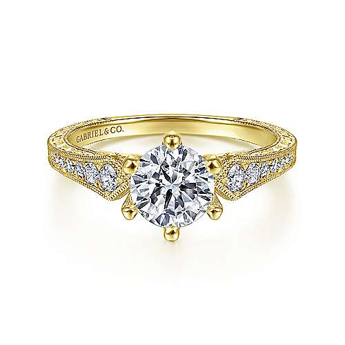 Gabriel - Ava 14k Yellow Gold Round Straight Engagement Ring