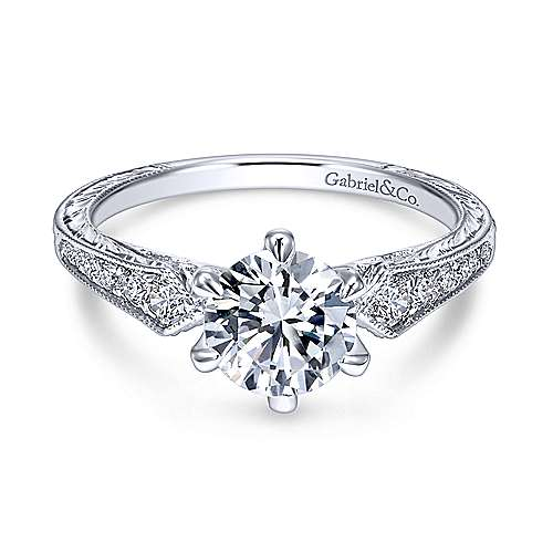 Gabriel - Ava 18k White Gold Round Straight Engagement Ring