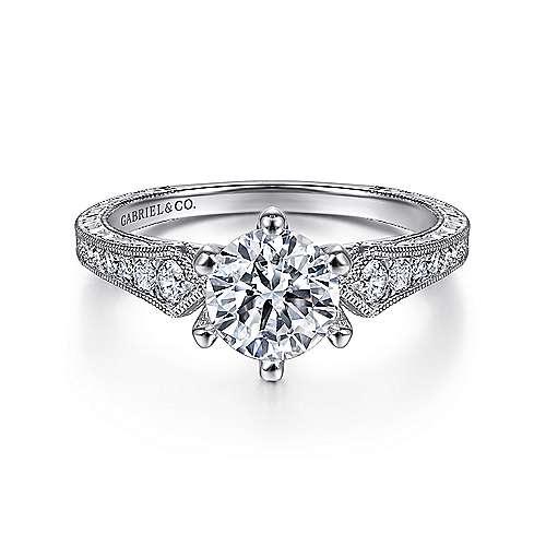 Gabriel - Ava Platinum Round Straight Engagement Ring