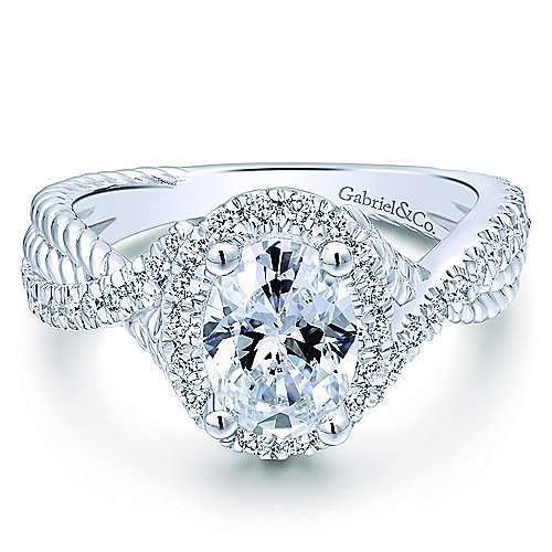 Avalon 14k White Gold Oval Halo Engagement Ring angle 1