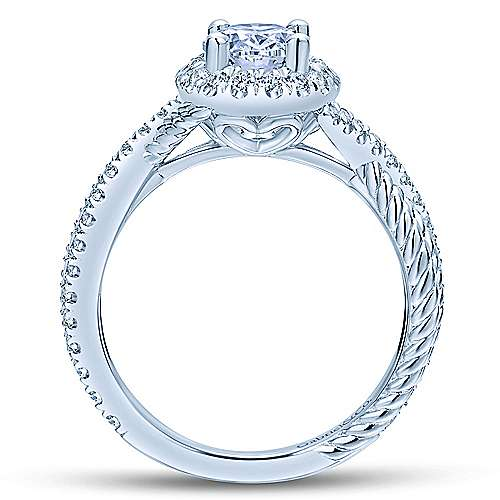Avalon 14k White Gold Oval Halo Engagement Ring angle 2