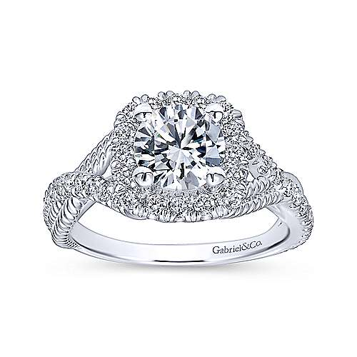 Avalon 14k White Gold Round Halo Engagement Ring angle 5