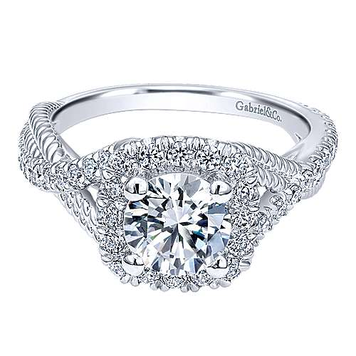 Avalon 14k White Gold Round Halo Engagement Ring