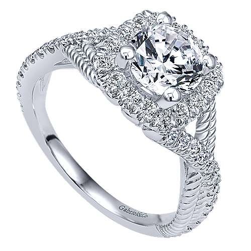 Avalon 14k White Gold Round Halo Engagement Ring angle 3