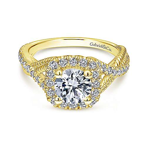 Gabriel - Avalon 14k Yellow Gold Round Halo Engagement Ring