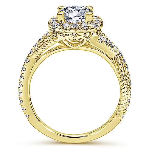 Avalon 14k Yellow Gold Round Halo Engagement Ring angle 2