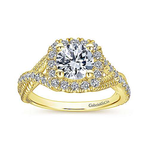 Avalon 14k Yellow Gold Round Halo Engagement Ring angle 5
