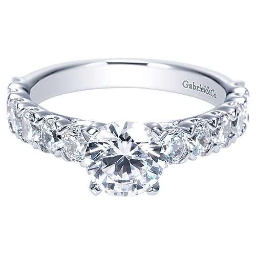 Gabriel - Aveline 14k White Gold Round Straight Engagement Ring