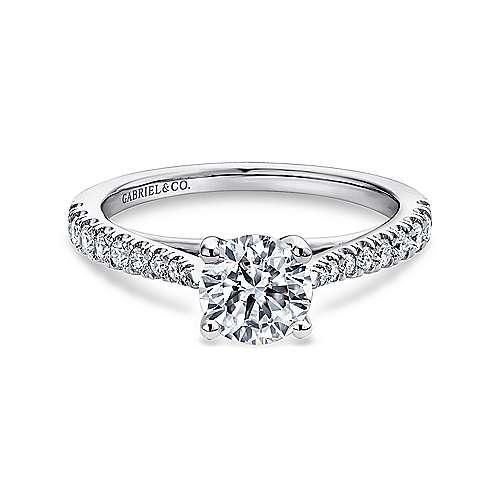 Gabriel - Avery 14k White Gold Round Straight Engagement Ring