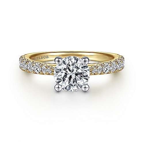 Gabriel - Avery 14k Yellow And White Gold Round Straight Engagement Ring