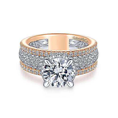 Avis 18k White And Rose Gold Round Straight Engagement Ring angle 1