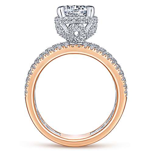 Avis 18k White And Rose Gold Round Straight Engagement Ring angle 2