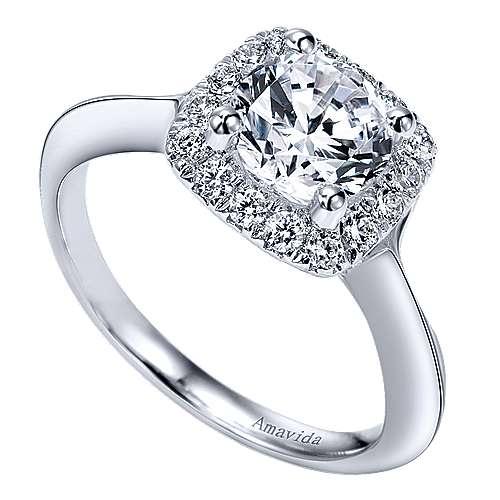 Ayla 18k White Gold Round Halo Engagement Ring