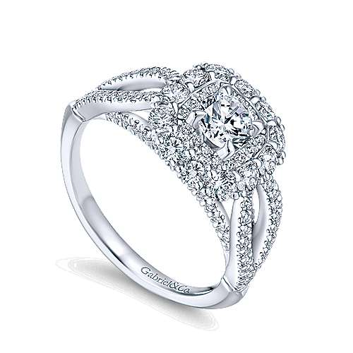Aztec 14k White Gold Round Double Halo Engagement Ring angle 3