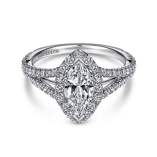 Gabriel - Azucena 18k White Gold Marquise  Halo Engagement Ring