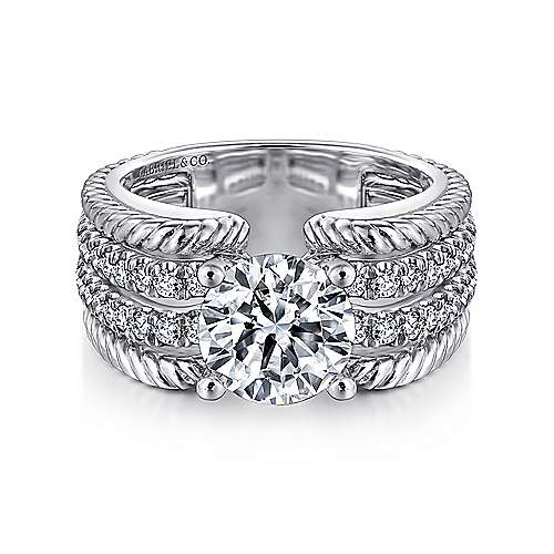 Azul 14k White Gold Round Straight Engagement Ring angle 1