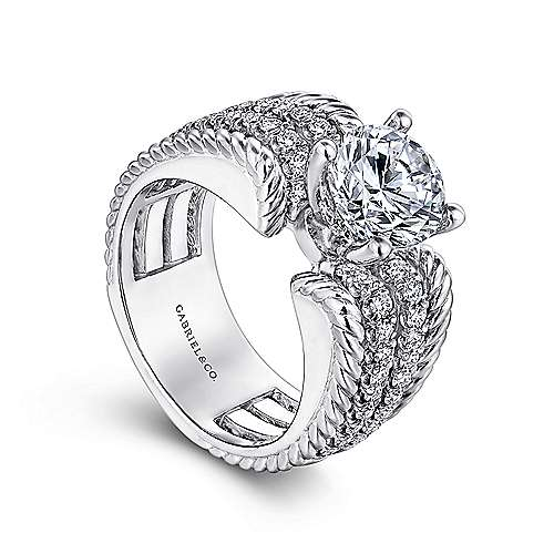 Azul 14k White Gold Round Straight Engagement Ring angle 3