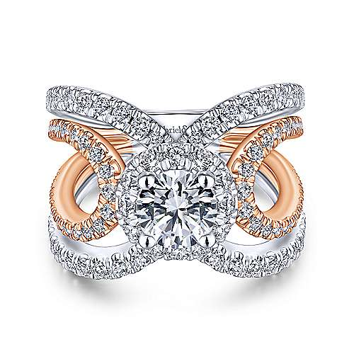 Bahamas 18k White And Rose Gold Round Halo Engagement Ring angle 1