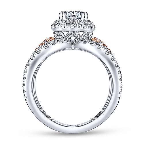 Bahamas 18k White And Rose Gold Round Halo Engagement Ring angle 2