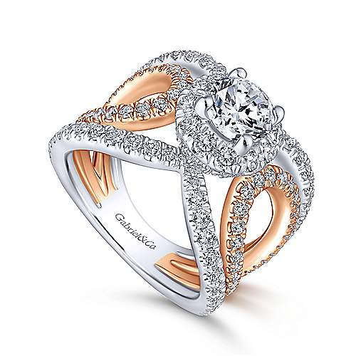 Bahamas 18k White And Rose Gold Round Halo Engagement Ring angle 3