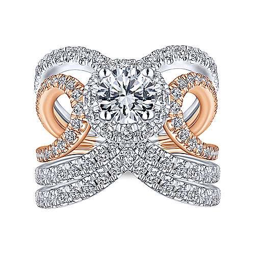 Bahamas 18k White And Rose Gold Round Halo Engagement Ring angle 4