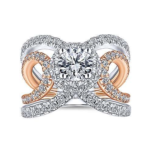 Bahamas 18k White And Rose Gold Round Halo Engagement Ring angle 5