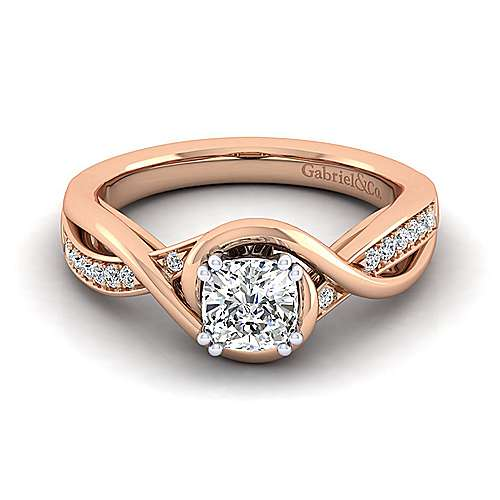 Gabriel - Bailey 14k White And Rose Gold Cushion Cut Twisted Engagement Ring