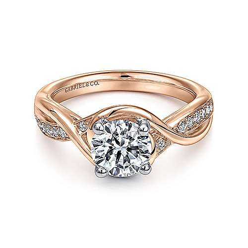 Gabriel - Bailey 14k White And Rose Gold Round Twisted Engagement Ring