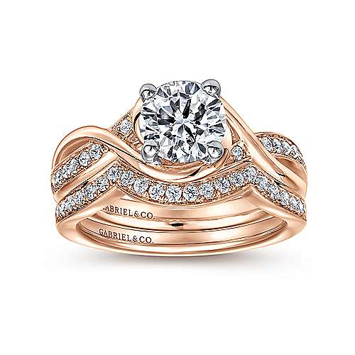 Bailey 14k White And Rose Gold Round Twisted Engagement Ring angle 4