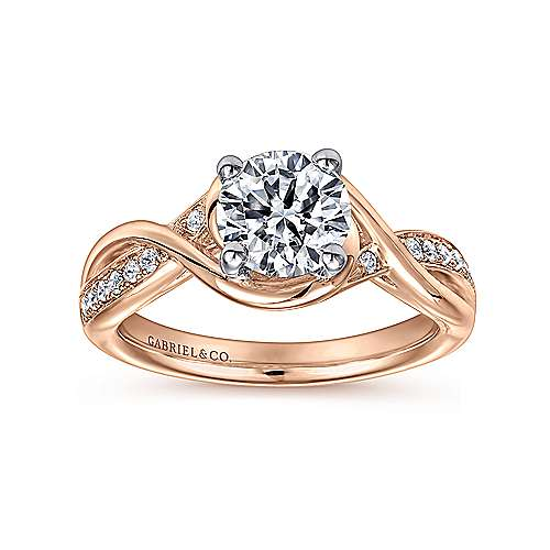 Bailey 14k White And Rose Gold Round Twisted Engagement Ring angle 5