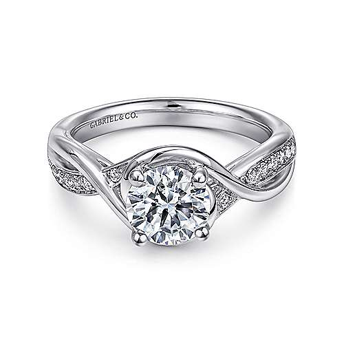 Gabriel - Bailey 14k White Gold Round Twisted Engagement Ring