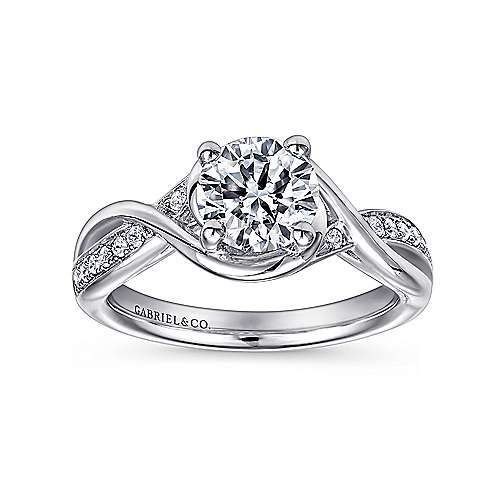 Bailey 14k White Gold Round Twisted Engagement Ring angle 5