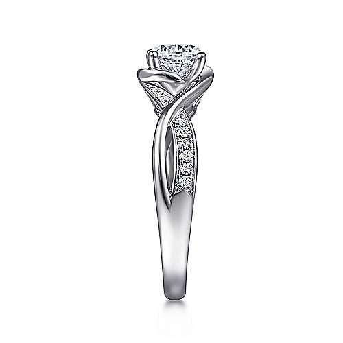 Bailey 14k White Gold Round Twisted Engagement Ring