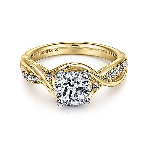 Gabriel - Bailey 14k Yellow And White Gold Round Twisted Engagement Ring